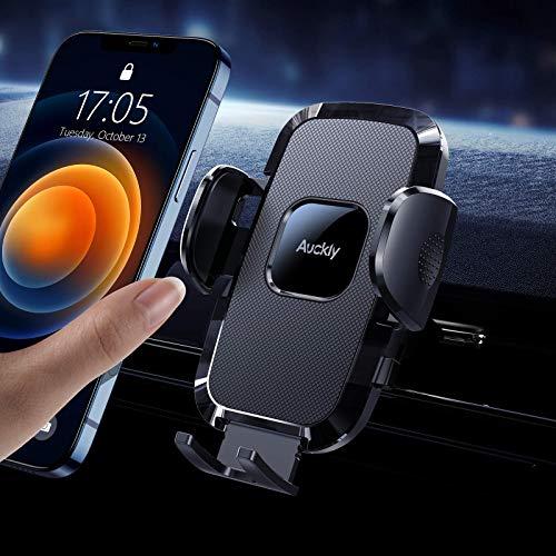 Auckly Handyhalterung Auto,[Airbag-Silikonschutz] Handyhalter fürs Auto KFZ Handyhalterung Lüftung Universale Smartphone Halterung für iPhone 12 Pro Max Mini /11/X/XR/8/7/Galaxy S20/S10 Huawei LG usw