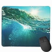 マウス -パッド かわいいゲーミングマウスパッド、デスクマウスパッド、ラップトップコンピューター用の小型マウスパッド、マウスマットブルーラフ色の海の波が日没で壊れる