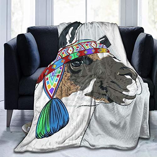 Benutzerdefiniert Decke werfen,Lama Alpaka mit einem ethnischen bunten Hut peruanischen Skizzenart Tier abstraktes Muster,Weiche bequeme Plüschdecke für das Sofa Schlafzimmer Travel Blanket 60