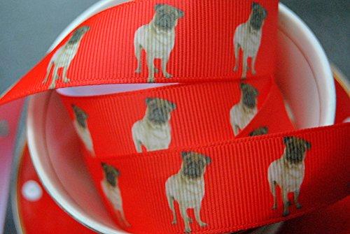 RibbonQueen rotes Ripsband, 2m x 22mm, Design Mops/Hund, für Geburtstage, Kuchen, Geschenkpapier, Haarschleifen, Karten, Bastelarbeiten, Schnürsenkel, in Markenverpackung