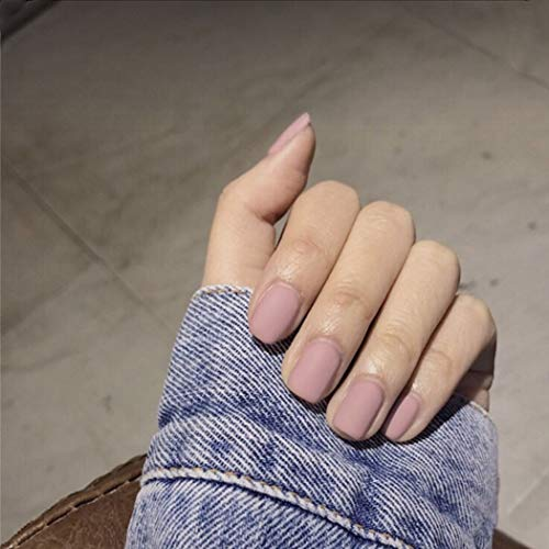 Edary 24Pcs Matte Fake Nails Pink Color Coffin Nails Full Cover Medium False Gel Nails Art Tips Sets for Women