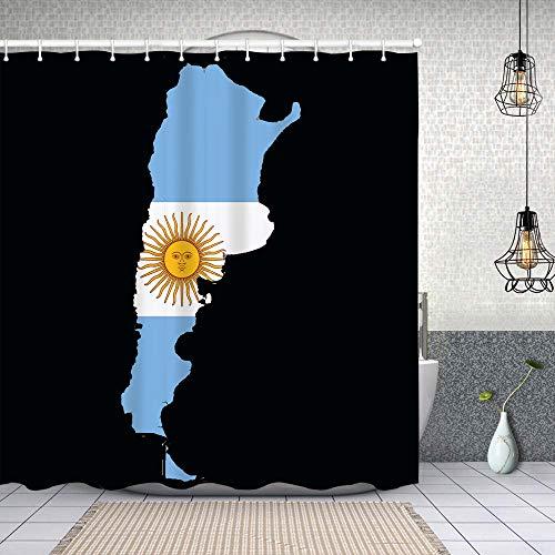 Cortina de Baño con 12 Ganchos,Bandera Argentina Mapa,Cortina Ducha Tela Resistente al Agua para baño,bañera 150X180cm