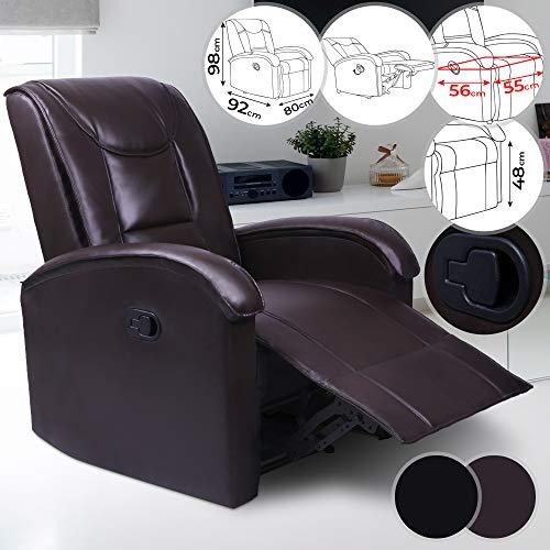 MIADOMODO Fernsehsessel - mit Rückenlehne und Fußlehne, verstellbar, Kunstleder, in Braun - Relaxsessel, Relaxliege, Ruhesessel, Sessel mit Liegefunktion