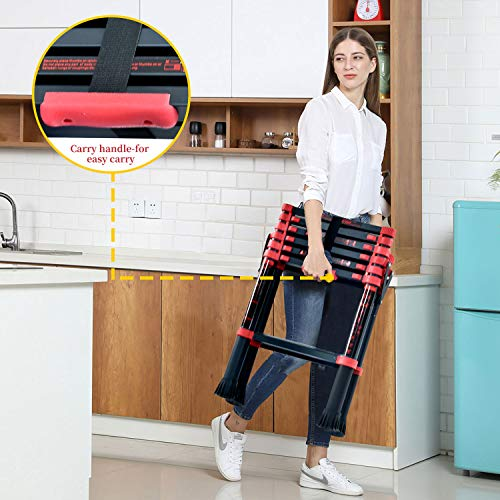 Extension Ladder 6-Foot, Step Ladder Telescopic Aluminum 5+7 Ladder Multi Position, Adjustable And Folding Ladder A-Frame With Hand Rails And Safety-Lock, Anti-Slip Pedal Lightweight, 330 Lbs Capacity