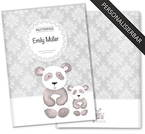 Mutterpasshülle 3-teilig Motiv Black & White Mutterpass Hülle Schwangerschaft Geschenkidee personalisierbar mit Namen (Mutterpass personalisiert, Panda)