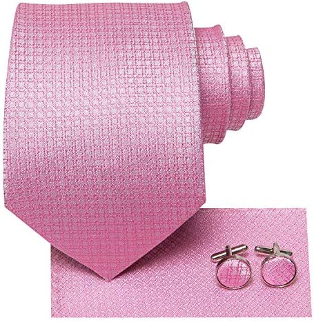 Dubulle Pink Tie for Men Silk Mens Pink Checks Mens Necktie Pocket Square CUfflinks Set product image