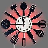 BuyBuyBuy Luces LED Decorativo Cuchillo De Cocina Y Vajilla Tenedor Cuchara De Vinilo Disco De Vinilo del Reloj De Pared del Reloj del Reloj De Pared Creativo Φ30cm Hora de soñar