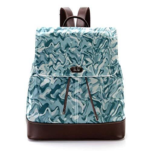 Casual PU Leather Zaino per Uomini, Donne Borsa a Tracolla Studenti Zaino per Viaggi Business College Sea Water Lines