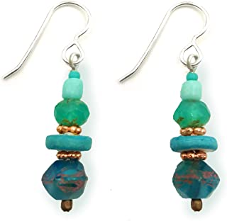 Tranquil Ocean Beaded Glass Dangle Drop Earrings Aqua Turquoise Blue Sea Colors Accented with Copper