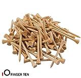 FINGER TEN Golf tee - Juego de Camisetas de Madera de Golf DE 70 mm, 100 Unidades, 250 Unidades, Color Azul, Blanco y Rojo (Natural Wood, 100 Count)