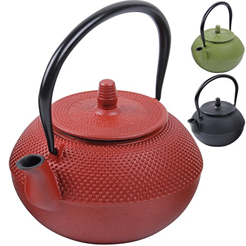 Deuba Teekessel Teekanne Gusseisen 1250 ml Rot Asiatische Teekanne Japanischer Stil inkl. Edelstahl Teesieb mit praktischem Henkel