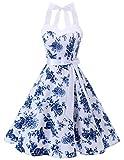 DRESSTELLS Version 3.0 - Vestido de cóctel de lunares con cuello halter, estilo vintage Audrey Hepburn de los años 50 White Blue Flower XL