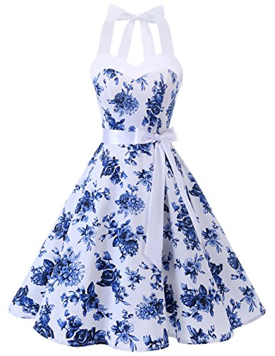 DRESSTELLS Neckholder Rockabilly 1950er Polka Dots Punkte Vintage Retro Cocktailkleid Petticoat Faltenrock White Blue Flower M