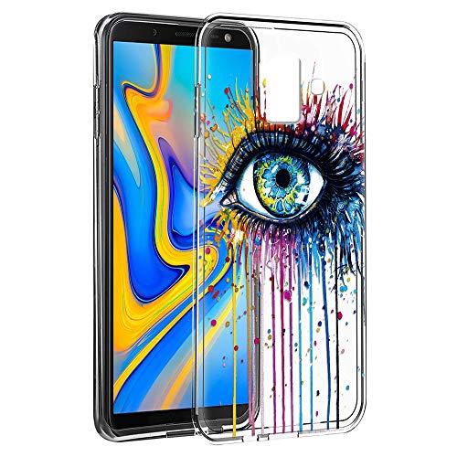 ZhuoFan Cover Samsung J6 Plus, Custodia Cover Silicone Trasparente con Disegni Ultra Slim TPU Morbido Antiurto 3d Cartoon Bumper Case Protettiva per Samsung Galaxy J6 Plus (Occhio)