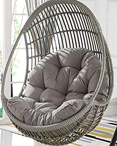 ping bu Comfortable Hanging Egg Chair Cushion Non-slip Wicker Rattan Cushion Hanging Egg Chair Pads Thicken Cozy Only Cushion (Grey)
