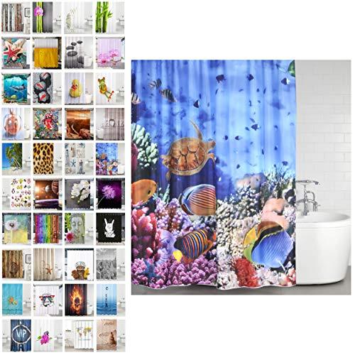 Sanilo Duschvorhang, viele schöne Duschvorhänge zur Auswahl, hochwertige Qualität, inkl. 12 Ringe, wasserdicht, Anti-Schimmel-Effekt (Ocean, 180 x 200 cm)