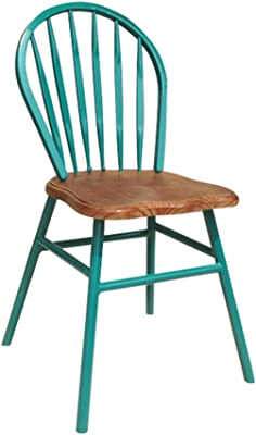 Classic Iron Dinning Chair, Metal Dining Side Chairs with Pine Wood Top/Seat, Easy to Assemble, Solid and Durable, for Dining Room Bistro Cafe