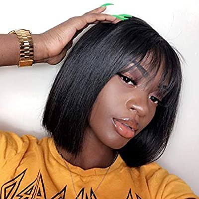 Brazilian Virgin Straight Human Hair Wigs with Bangs 130% Density None Lace Front Wigs Glueless Machine Made Wigs for Black Women Natural Color