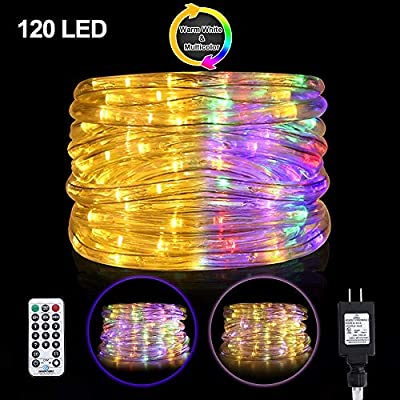 Ollny LED Rope Lights Color Changing 120 LED 23ft Tube Lights Waterproof Strip Lights 11 Modes Twinkle Light Plug in connectable Christmas Lights with Remote Timer for Bedroom Indoor Patio Outdoor