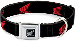 Buckle-Down Seatbelt Buckle Dog Collar - HONDA Motorcycle Logo Black/Red - 1