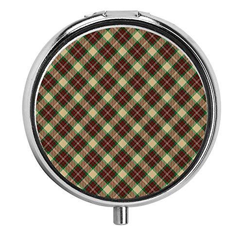 Plaid Tartan Muster mit diagonalen Quadraten Klassische Zusammensetzung Geometrische Anordnung Beige Green Ruby Pill Case Travel Pillendose