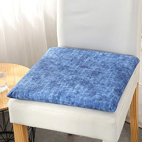 Eetkamerstoel, kussen voor langzame terugslag, memory foam, afneembaar en wasbaar zitkussen, Home Office autokussen, kussen 40 x 40 cm, koningsblauw