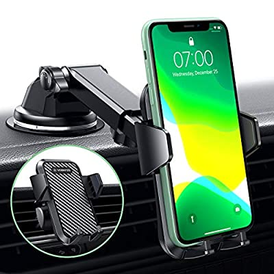 VANMASS Car Phone Mount, Dashboard Windshield Air Vent Cell Phone Holder for Car with Telescopic Arm & Dashboard Pad, Strong Sticky Suction, One Button Release Car Cradle, Compatible iPhone Samsung from VANMASS