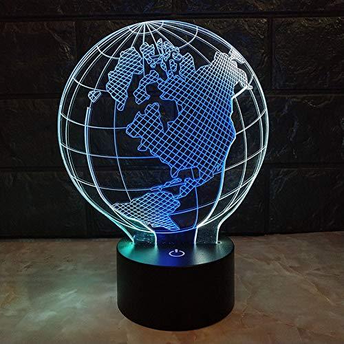 Led 3D Illusion Lumières Forme De La Terre 16 Couleurs Enfant Lampe De Nuit Pour Chambre Chevet Table De Fille Fils Cadeau Anniversaire De Ambiance Créatif Avec Câble Usb Et Télécommande