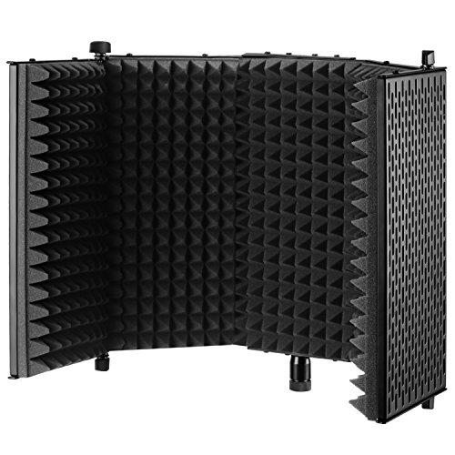 Neewer NW-1 Paravento Schermo Fonoassorbente d'Isolamento Richiudibile e Regolabile per Microfono, in Alluminio e Schiuma a Densità Alta per Isolamento Acustico (Nero) (Elettronica)