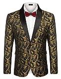 COOFANDY Mens Floral Tuxedo Jacket Paisley Shawl Lapel Suit Blazer Jacket for Dinner,Prom,Wedding Golden