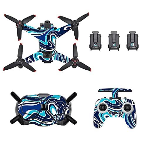 HSKcim Pellicola protettiva adesiva in PVC impermeabile per DJI FPV Drone Skin Cover Carbon Korn Waterproof Full Body e telecomando Protezione PVC 3D Skin RC Accessori (A)