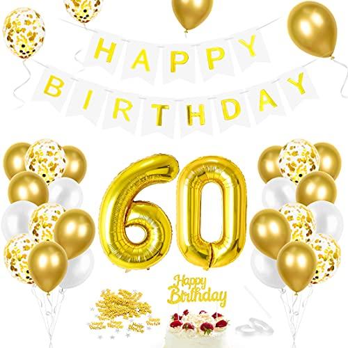 Luftballon 60. Geburtstag Golden, Geburtstagsdeko 60 Jahr, Ballon 60. Geburtstag, Riesen Folienballon Zahl 60, Happy Birthday Folienballon 60, Ballon 60 Deko zum Geburtstag Mann Frau
