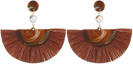 Bravetoshop Tassel Hoop Earrings for Women, Statement Handmade Dangle Golden Silk Tassel Metal Earrings for Girls Gifts