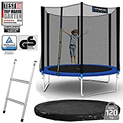 Kinetic Sports outdoor garden trampoline Ø 244 cm, TPLS08, including jumping mat from USA PP-Mesh + safety net + edge and Rain cover + ladder, up to 120kg, GS-tested, UV-resistant, BLUE