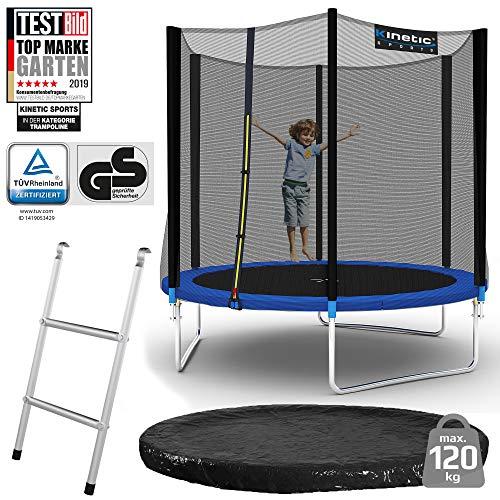 Kinetic Sports Outdoor Gartentrampolin Ø 244 cm, TPLS08, inklusive Sprungtuch aus USA PP-Mesh +Sicherheitsnetz +Rand- u. Regen-Abdeckung +Leiter, bis 120kg, GS-geprüft,UV-beständig, BLAU