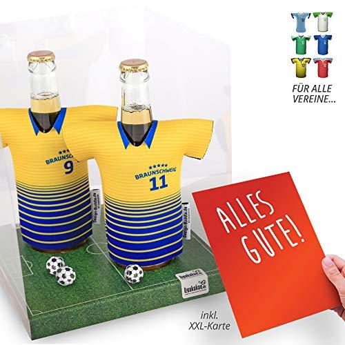 vereins-Trikot-kühler Away für Braunschweig-Fans | 2er Geschenk-Box-Edition| 2X Trikots | Fußball Fanartikel Jersey Bierkühler by ligakakao.de