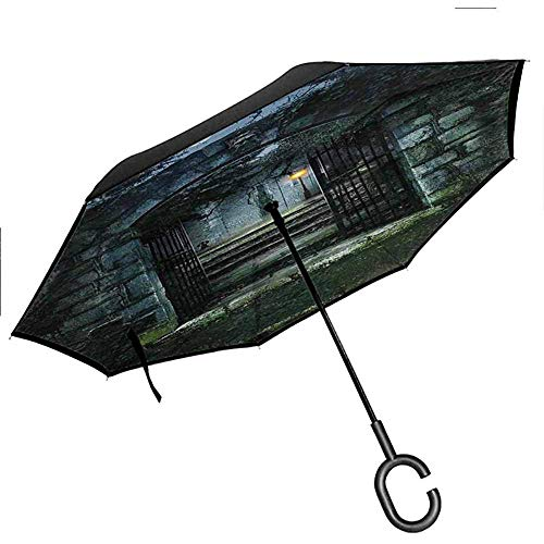 Gotische umgekehrte umgekrempelte Regenschirm-Rückseite Bild des Tors Einer Alten Geisterhaus-Kirchhof-Toten mystischen Erfindung