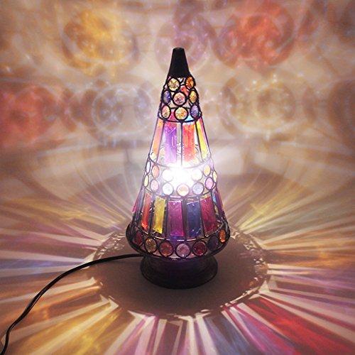 Lámparas de Escritorio Lámpara de Mesa romántica del Regalo del Vintage, lámpara Coloreada de la Pantalla de la Forma de la Torre del acrílico Lámpara de Escritorio lamentable del Estilo, e14 Lámpar