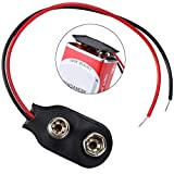 Veiai 9V Battery Clip Connector 5.9 Inches Cable Connection I-Type Black Hard Shell Red Connector Wire (Clip connector-20pcs)