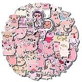 50Pcs Kawaii Pig Stickers, Cute Cartoon Pink Piggy Sticker Pack for Kids, Waterproof Vinyl Laptop Pig Stickers for Water Bottle, Phone, Skateboard, Luggage Decor