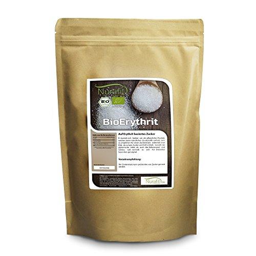 Nurafit BIO Erythrit I 1kg / 1000g I Zuckerersatz kalorienfrei I Natürliche Zuckeralternative I Ohne Fett ohne Zucker ohne Zusätze