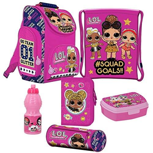 L.O.L LOL Surprise 6 Teile Set Tornister Ranzen Schulranzen Tasche inklusive Sticker-von-Kids4shop Federmappe Puppen Motiv