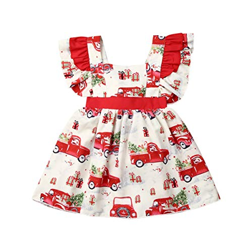 Toddler Baby Girl Christmas Dress Santa Claus Car Trees Print Ruffle Sleeveless Tutu Party Princess Dress Skirt Outfit (2-3T, Red)