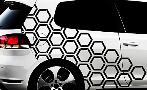 HR-WERBEDESIGN Hexagon Pixel Cyber Camouflage XXL Set Auto Aufkleber Sticker Tuning Wandtattoox 1x