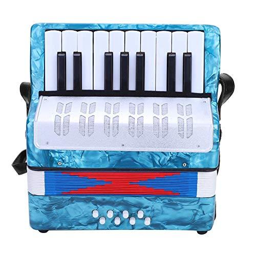 Dilwe Acordeón, Mini Pequeño 17-Key 8 Bajo Acordeón Educativo Musical Instrumento Juguete para Principiantes Enseñanza de la Primera Infancia(Azul Marino)