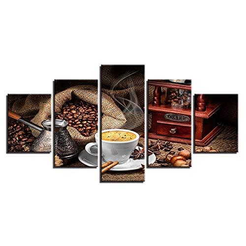 GJXYED geen lijst canvas decoratie schilderij handgemaakt doe-het-zelf canvas schilderij muurkunst afbeelding 5 stuks levensmiddelen koffiebonen HD print koffie winkel restaurant keuken poster huis decoratie afbeeldingen 5-de 200*100CM