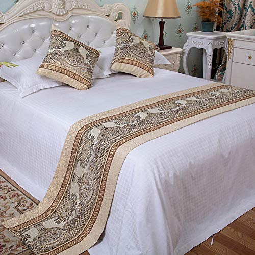 YYSWIM Bettläufer Schal Betttuch Sternenhotel, hochwertige Gastfamilie, einfache Bettflagge, Matratze am Ende des Bettes, Bettbezug, DREI Sets von Betttüchern, Goldene Vase, 50 x 210 cm / 1, 5 m Bett