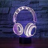 3D Lampe Headset Dj Illlusion Studio Monitor Musik Kopfhörer 3D Nachtlicht Kopfhörer Bunte Schreibtischlampe Schlafzimmer Dekoration