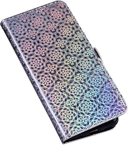QPOLLY Schutzhülle für Huawei Mate 20 Pro Hülle Diamant Leder Strass Bling Tasche Leder Flip Case 3D Glitzer Shiny Bunt Handyhülle Glitzer Brieftasche Handytasche für Huawei Mate 20 Pro,Silber