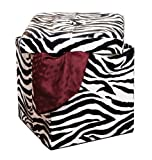 Simplify Folding Storage Ottoman, Toy Box Chest, Faux Leather,Tufted Padded Seating, Bench, Foot Rest, Stool, Single, Zebra